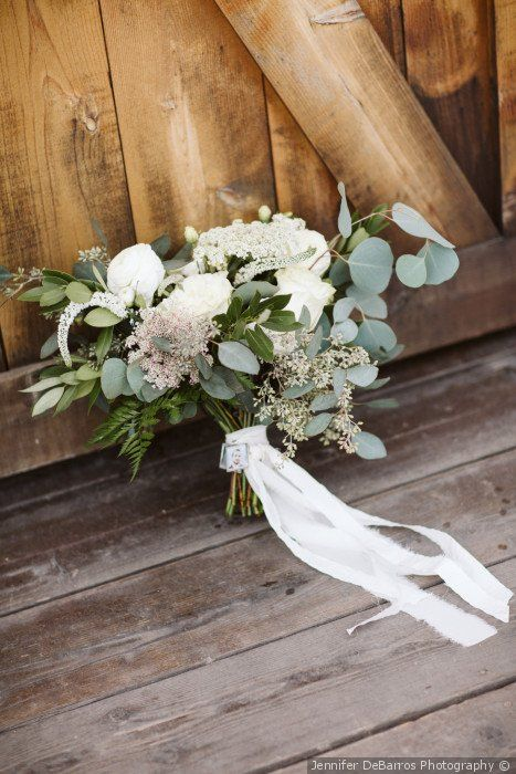 Simple Wedding Bouquet Idea Greenery Bouquet With White Flowers And White Ribbons Rustic Wedding Flowers Bouquet Simple Bridal Bouquets Bridal Bouquet Summer