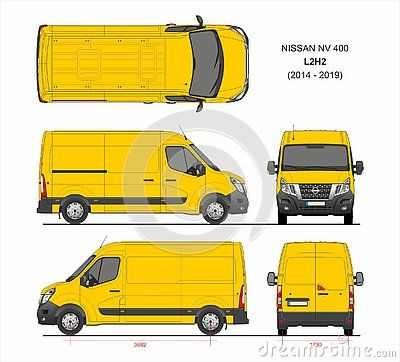 Nissan Nv400 Cargo Delivery Van L2h2 2014 2019 Detailed Template For Design And Production Of Vehicle Wraps Scale 1 To 10 Renault Master Opel Van