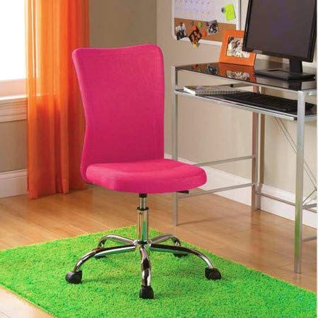 Armless Desk Chair Ergonomic Cute Fuschia Height Adjustable Office Chair Modern Comfortable Student Cheap Desk Chairs Girls Desk Chair Adjustable Office Chair
