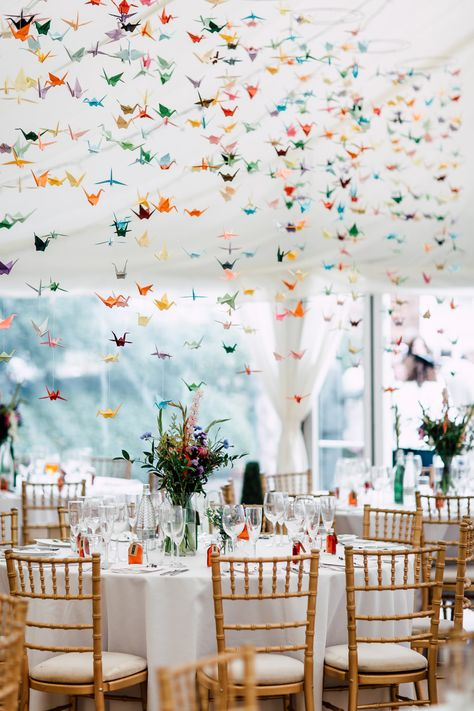 Marquee Origami Birds Paper Cranes Table Flowers Colourful Barff Country House Wedding Sarah Beth Photo wedding Colourful & Fun Summer Wedding with 1000 Paper Cranes Marquee Wedding, Wedding Table, Wedding Marquee Decoration, Wedding House, Origami Decoration, Summer Wedding Decorations, Table Decorations, Wedding Summer, Late Summer Weddings