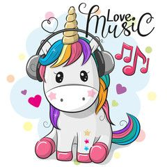 Unicorn With Headphones On A Blue Background Cartoon Unicorn Cute Cartoon Cute Unicorn