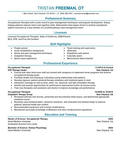 Sample Occupational Therapist Resume  Occupational Therapist Jobs