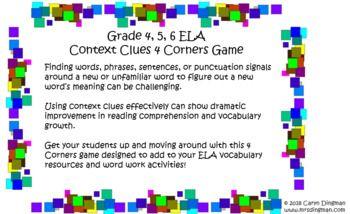 Grade 4 5 6 Ela Context Clues 4 Corners Game My Teachers Pay