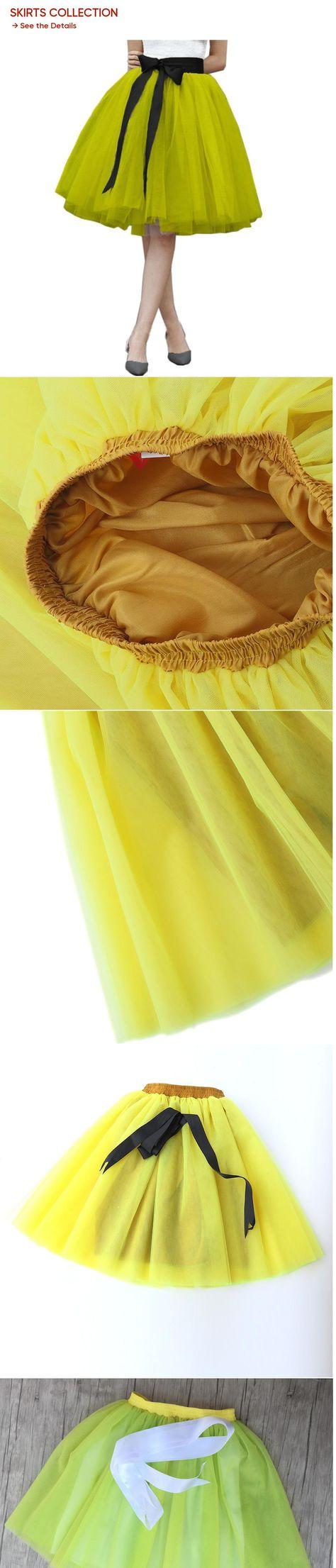 e30052aa1c Custom Made Fashion 7 Layers yellow Tulle Skirt Bow Vintage Tutu Pleated  Skirts Womens Lolita Petticoat falda Mujer saia jupe