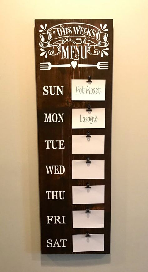 Menu Board , Meal Planning Sign, Weekly Meal Planning, Kitchen Decor, Wooden Kitchen Sign, Farmhouse Decor, Fixer Upper Decor, Rustic Home Decor, Dining Room Decor Organize meals with this rustic farmhouse style menu board! These signs are sanded, stained (or painted) and sealed.