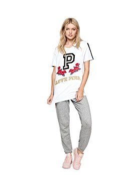 fb90f97656c70 Victoria's Secret Pink Campus Short Sleeve Tee, White with Sequins ...