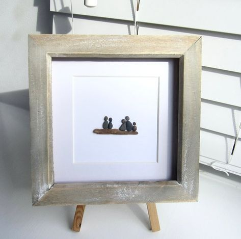 Family pebble art, pebble art, pebble picture, a gift from the ...
