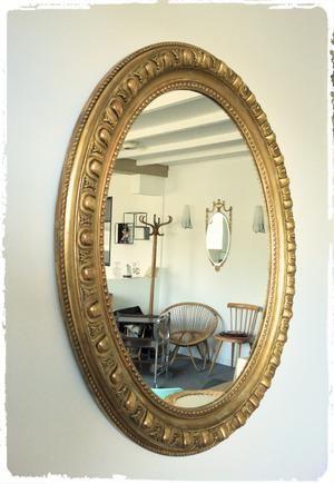 grand miroir ancien ovale bois et stuc