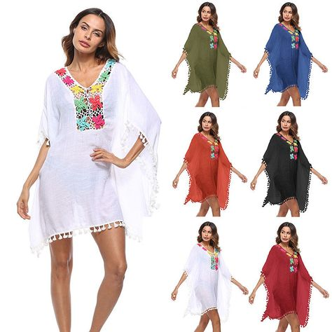 1e9e84e8b5 Women Crochet Swimwear Bikini Beach Wear Cover Up Tassel Ladies Summer  Dress #Unbranded #CoverUp