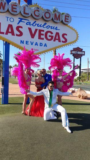 Las Vegas Wedding Complete With Premier Showgirls Elvis Impersonator Welcome To Fabulous Las Vegas Sign Vegas Elvis Las Vegas Weddings Vegas Wedding