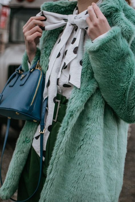 Can already feel the winter chill flying in the air and the only thing I can rely on keeping me warm during these days is my mint faux fur coat.
