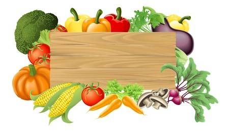 Illustration Of A Wooden Sign Surrounded By Fresh Vegetables Fresh Vegetables Vegetables Vegetable Basket