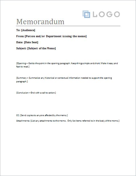 Download the Sample Memo Letter Template from Vertex42 - sample email memo template