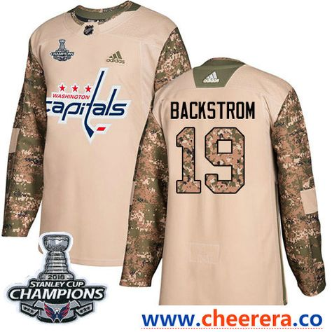 7c5fa5bc3 Adidas Washington Capitals  19 Nicklas Backstrom Camo Authentic 2017  Veterans Day Stanley Cup Final Champions Stitched NHL Jersey