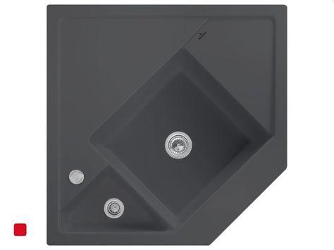 Villeroy \ Boch Monumentum Graphit Grau Eckspüle Keramik-Spüle - küchen unterschrank spüle