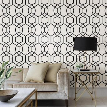 Scott Living 30 75 Sq Ft Yellow Taupe Vinyl Geometric Self Adhesive Peel And Stick Wallpaper Lowes Com Peel And Stick Wallpaper Self Adhesive Wallpaper Geometric