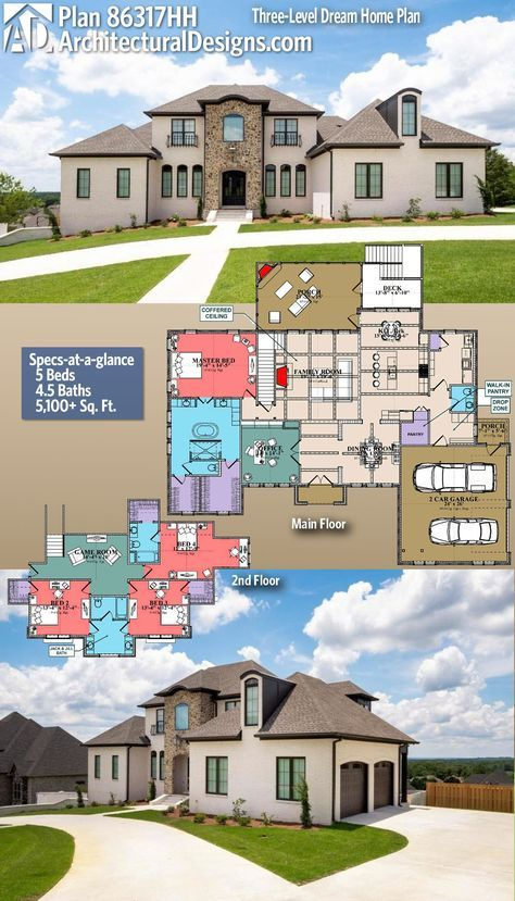 Plan 86317hh Three Level Dream Home Plan With Main Level And Drive Under Garages Dream House Plans House Plans Architectural Design House Plans