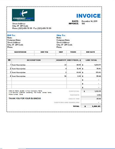 Sales Invoice Excel Template Invoice Templates Pinterest - sales invoice