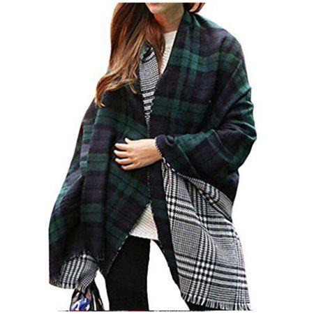 Woman Stylish Check Fringed Scarf Shawl Wrap