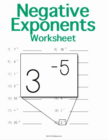Math Worksheet Exponents In 2020 Exponent Worksheets Negative Exponents Exponents