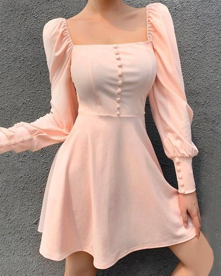 #solid #square #neck #popper #cuff #lantern #sleeve #ruffles #dress #boutiquefeel