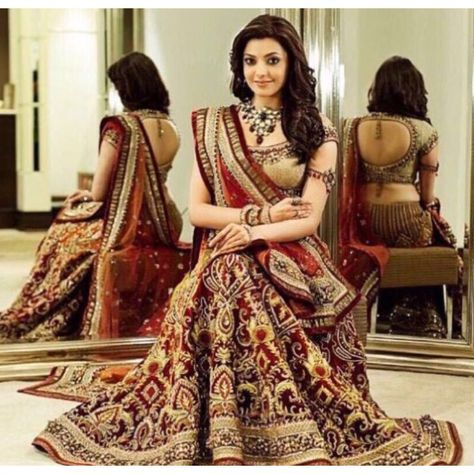 Bollywood Replica Kajal Aggarwal In Maroon Lehenga Choli Dj 47 A With Images Indian Wedding Dress Indian Bridal Dress Saree Designs