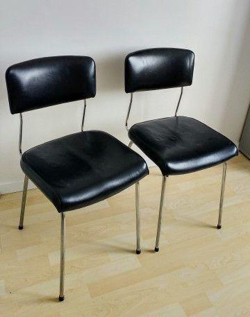 Chaises Skai Noir Vintage Chair Chaise Skai Vintagefurniture Vintage 70s Chaise Simili Cuir Simili Cuir Simili Cuir Noir