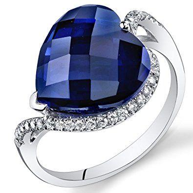Peora 14K White Gold Heart Created Blue Sapphire Diamond Ring (8.71 ...