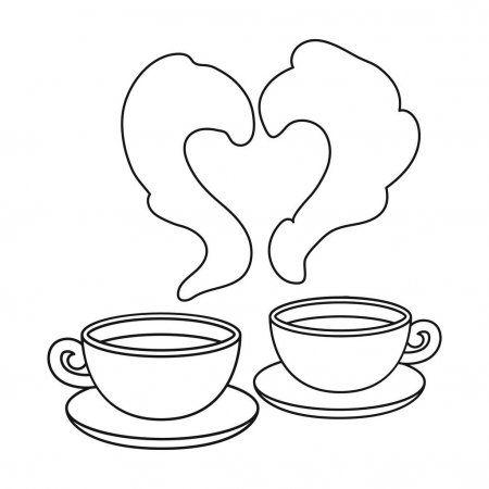 Icono de café en estilo de contorno aislado sobre fondo blanco. Símbolo romántico stock vector ilustración .