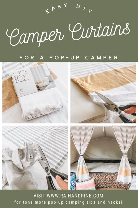 Easy DIY Pop-Up Camper Curtains - Instead of starting from scratch try this hack and use the old camper curtains hanging strip and combine it with a pair of shower curtains to make this easy DIY possible. Great for all campers! - Rain and Pine Camper Hacks, Diy Camper, Camper Life, Camper Ideas, Rv Hacks, Popup Camper Remodel, Camper Renovation, Camper Curtains, Window Curtains