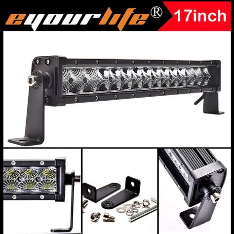 Eyourlife 15 17inch 75w Spot Flood Combo Work Driving Led Light Bar Lamp Offroad 12v 24v Waterproof Bar Lighting Led Light Bars Led Work Light