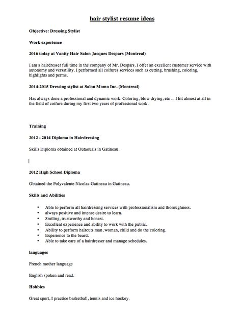 hair stylist resume ideas - http\/\/resumesdesign\/hair-stylist - free blank resume