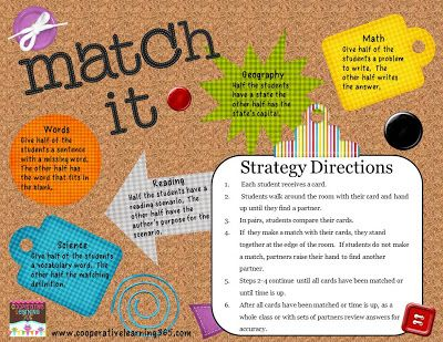 Match It is a version of memory but rather than students playing by themselves or with a partner, Match It is played with the entire class.