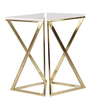 This Gold White Square Two Piece Mirrored Marble Accent Table Set Is Perfect Zulilyfinds Marble Accent Table End Table Sets End Tables