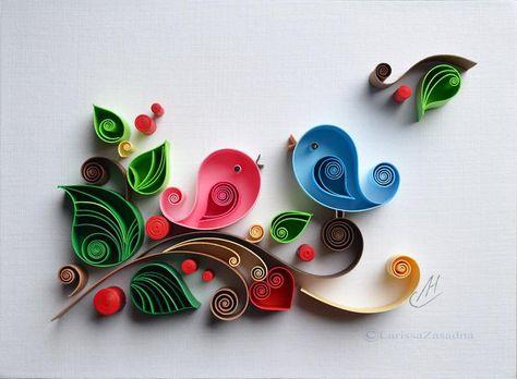 Quilling paper wall art: Love Birds Wedding gift | Etsy