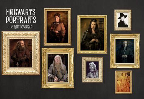Hogwarts Portraits Posters Printable Set of 8 Hogwarts   Etsy