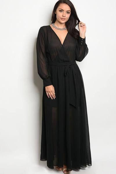 Plus Size Long Sleeve Chiffon Maxi Long V Neck Wrap Evening Gown Dress Black Usa Chiffon Long Sleeve Curvy Size Dress Long Sleeve Chiffon Maxi Dress