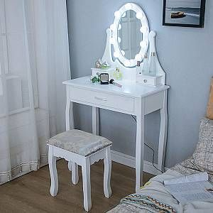 Coiffeuse Avec Lumiere Led Et Tabouret Miroir Ovale Table De Maquillage A 3 Oobest Mobilier D Interieur Meuble De Chambre Coiffeuse Oobest Attributs Sta 2020