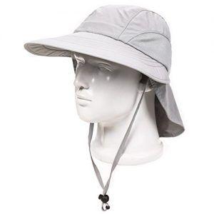 Decentron Unisex 4 Long Brim Flap Hat Sun Hats Safari Outback Hat With Neck