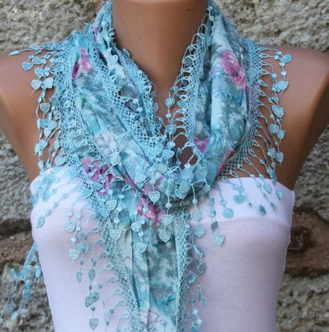 Cotton Cowl Scarf - Shawl with Lace Edge Blue - Multicolor from fatwoman on Etsy. Saved to Things I want as gifts.