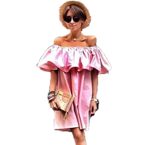 97d8738e1ace Find More Dresses Information about women summer dress 2016 ruffle plus  size Sleeve Off Shoulder woman beach dress sexy party pink dresses