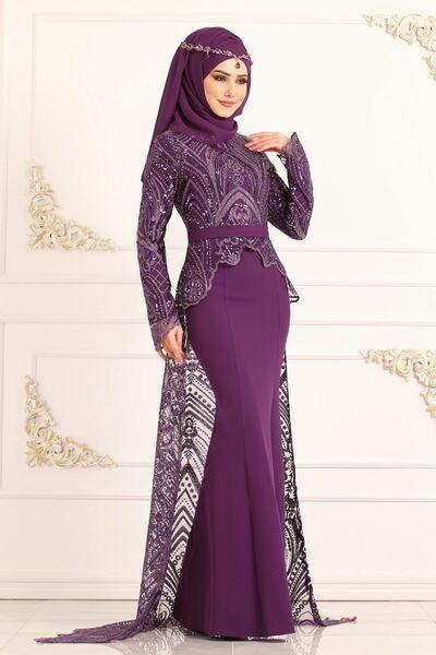 Modaselvim Abiye Pul Payet Dantelli Balik Abiye 8957w153 Mor Model Pakaian Hijab Model Pakaian Gaun Perkawinan