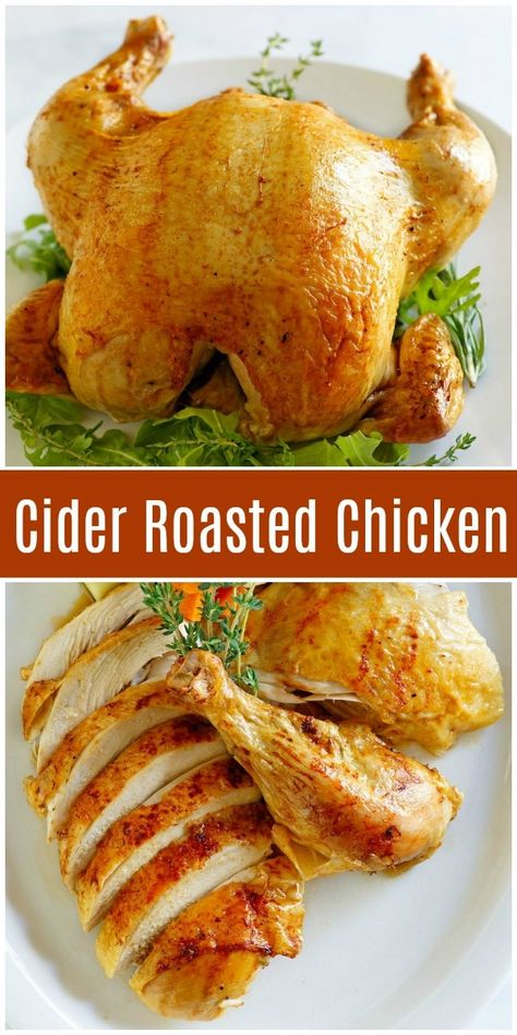 Cider Roasted Chicken - - This is the perfect fall-themed dinner. There is nothing like a home-roasted chicken! Roast Chicken Recipes, Roasted Chicken, Fried Chicken, Soul Chicken, Chicken Satay, Thai Chicken, Stuffed Chicken, Fall Dinner Recipes, Fall Recipes