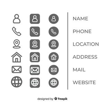 Download This Free Vector Icons Collection For Business Card In 2020 Business Card Icons Resume Icons Vector Business Card