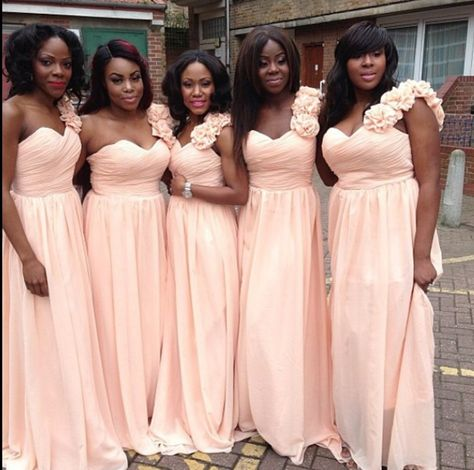 Dark Peach Color Bridesmaid Dresses