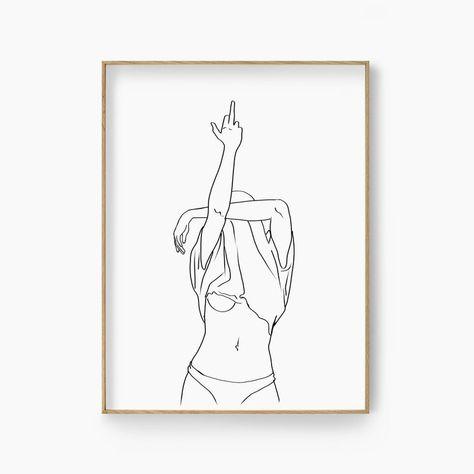 Middle Finger Line Art Print Rude Finger Line Drawing Woman   Etsy