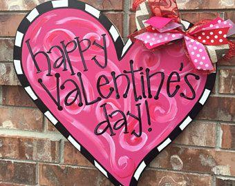 Valentines Door Hanger Valentines Wreath Valentines Decor Heart Door Hanger Heart Wreath Valentines Door Hanger Valentine Door Decorations Door Decorations
