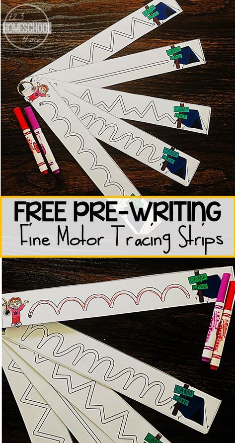 FREE Camping Tracing Strips for Fine Motor Skills - these free printable pre writing strips are perfect to help toddler, preschool, and kindergarten age kids strengthen their muscles so they are ready to write letters. These handwritting worksheest are pe Preschool Writing, Preschool Learning Activities, Toddler Learning, Early Learning, Toddler Preschool, Preschool Centers, Preschool Camping Activities, Toddler Activities, Learning To Write