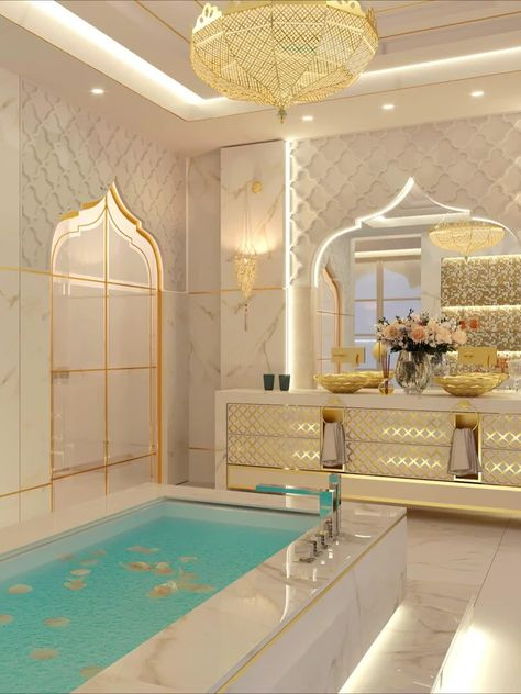 Contemporary luxury dream Moroccan style master bathroom interior design with beautiful decoratons. Get more interior design ideas & inspiration by visiting our website. #currentdesignsituation #luxuryinteriors #interiordesignideas #masterbathroom#spaziointeriordecorationllc