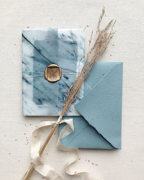 Swooning over this semi-custom blue wedding invitation suite. 💙 Handmade paper, marble vellum wrap, fine twine and custom square wax seal —… Spring Wedding Invitations, Handmade Wedding Invitations, Wedding Invitation Suite, Wedding Stationary, Blue Wedding Stationery, Wedding Invitation Card Design, Invitation Kits, Wedding Suite, Wedding Card Design